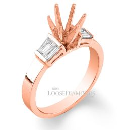 14k Rose Gold Classic Style Baguette Diamond Engagement Ring