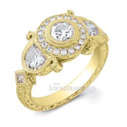 18k Yellow Gold Vintage Style Half Moon Engraved Diamond Engagement Ring