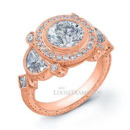 18k Rose Gold Vintage Style Hand Engraved Diamond Engagement Ring