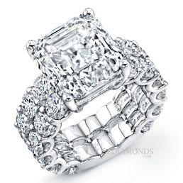 14k White Gold Modern Style 2-Row Diamond Engagement Ring