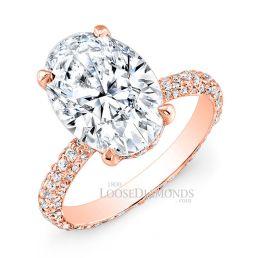 14k Rose Gold Classic Style Eternity Diamond Engagement Ring