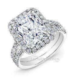Platinum Modern Style Spilt Shank Diamond Halo Engagement Ring