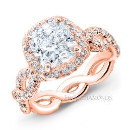 14k Rose Gold Art Deco Style Twisted Shank Diamond Halo Engagement Ring