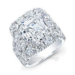Platinum Modern Style 3-Row Diamond Halo Engagement Ring