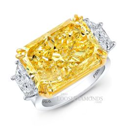 14k White Gold Modern Style Trapezoid Diamond 3-Stone Engagement Ring