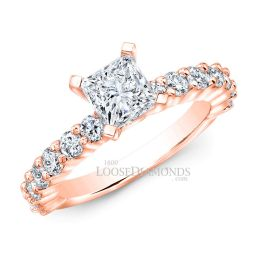 18k Rose Gold Classic Style Shared Prong Diamond Engagement Ring