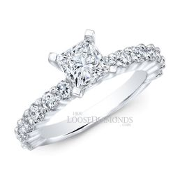 18k White Gold Classic Style Shared Prong Diamond Engagement Ring