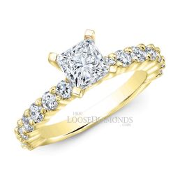 18k Yellow Gold Classic Style Shared Prong Diamond Engagement Ring