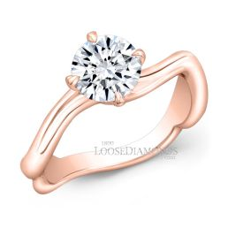 18k Rose Gold Art Deco Style Twisted Shank Solitaire Engagement Ring