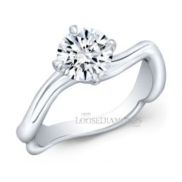 14k White Gold Art Deco Style Twisted Shank Solitaire Engagement Ring