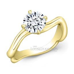 18k Yellow Gold Art Deco Style Twisted Shank Solitaire Engagement Ring