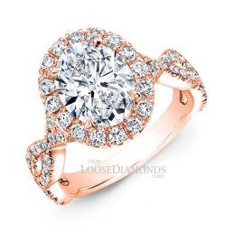 18k Rose Gold Modern Style Twisted Shank Diamond Halo Engagement Ring