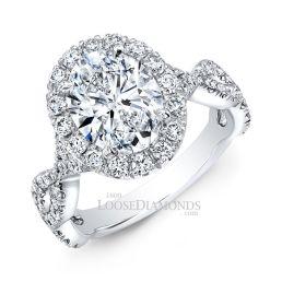 14k White Gold Modern Style Twisted Shank Diamond Halo Wedding Set Ring