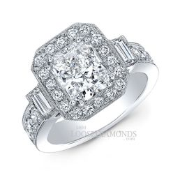 14k White Gold Vintage Style Diamond Halo Engagement Ring