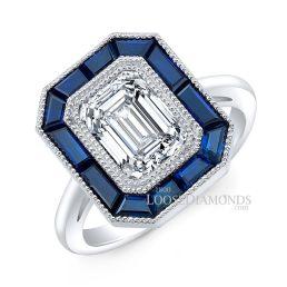 Platinum Art Deco Style Engraved Blue Sapphire Halo Engagement Ring