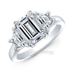 14k White Gold Modern Style 3-Stone Diamond Ring