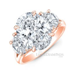 14k Rose Gold Classic Style Oval Diamond Ring