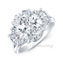 14k White Gold Classic Style Oval Diamond Ring