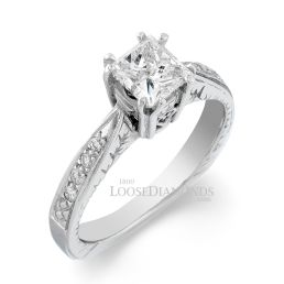 14k White Gold Vintage Style Engraved Diamond Engagement Ring