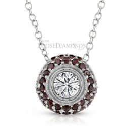 14k White Gold Engraved Cognac Diamond Halo Slider Pendant