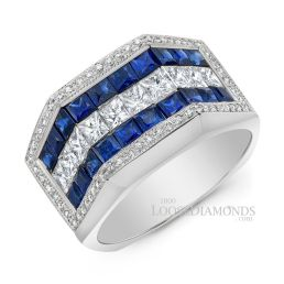 14k White Gold Men's Modern Style Diamond & Sapphire Ring