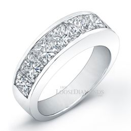 14k White Gold Men's Modern Style Diamond Wedding Band