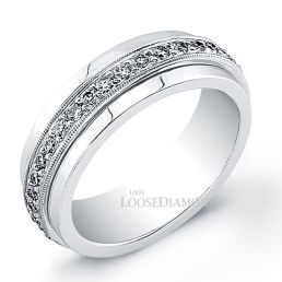 14k White Gold Men's Modern Style Engraved Diamond Wedding Ring