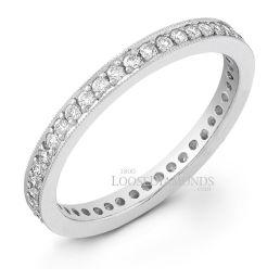 14k White Gold Classic Style Engraved Diamond Eternity Wedding Ring