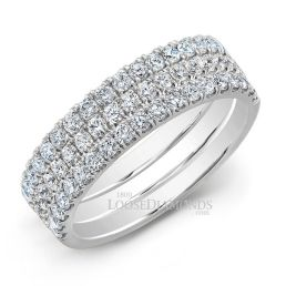 14k White Gold Half Eternity Style Tri-Color Gold Stackable Diamond Band Set