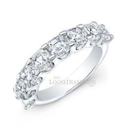 14k White Gold Half Eternity Style Asscher Cut Diamond Wedding Band