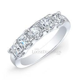 14k White Gold Modern Style Asscher Cut Diamond Wedding Band