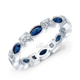 14k White Gold Art Deco Style Diamond & Sapphire Engraved Wedding Band