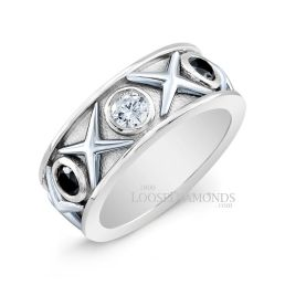14k White Gold Art Deco Style Two-Tone Gold Diamond Cocktail Ring
