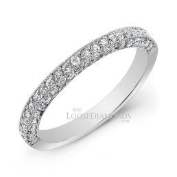14k White Gold Modern Style 3-Row Diamond Wedding Band
