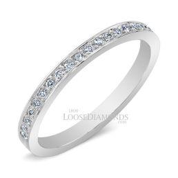 14k White Gold Classic Style Half Eternity Diamond Wedding Band