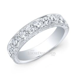 14k White Gold Vintage Style Engraved Diamond Wedding Band