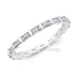 14k White Gold Modern Style Baguette Diamond Ring