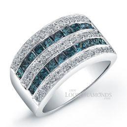 14k White Gold Modern Style Blue Diamond Wedding Ring