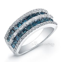 14k White Gold Art Deco Style Blue Diamond Wedding Ring