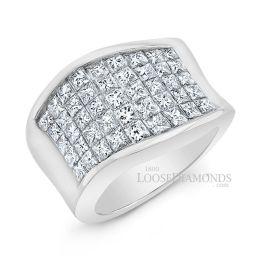 14k White Gold Modern Style Princess Diamond Band