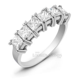 14k White Gold Princess Cut Diamond Wedding Band
