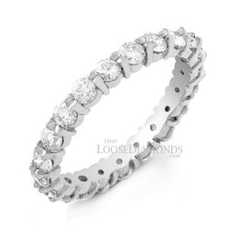 14k White Gold Classic Style Shared Prong Diamond Wedding Ring