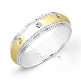 14k White Gold Men's 2-Tone Diamond Wedding Ring