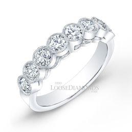 14k White Gold Classic Style Engraved Diamond Wedding Band