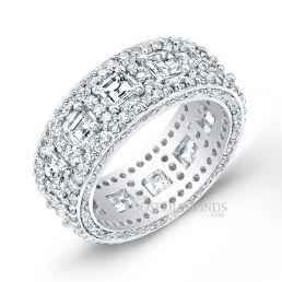 14k White Gold Art Deco Style Asscher Cut Diamond Wedding Band