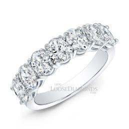 14k White Gold Classic Style Oval Shape Diamond Wedding Band