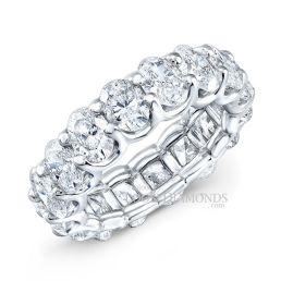 14k White Gold Modern Style Eternity Oval Shape Diamond Wedding Band