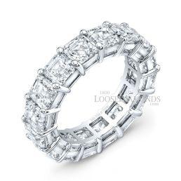 14k White Gold Modern Style Eternity Asscher Cut Diamond Wedding Band