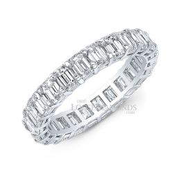 14k White Gold Emerald Cut Diamond Eternity Wedding Band