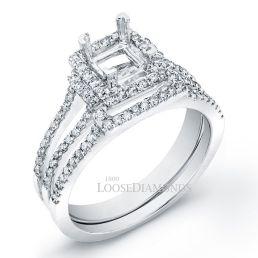 14k White Gold Modern Style Halo Split-Shank Diamond Wedding Set